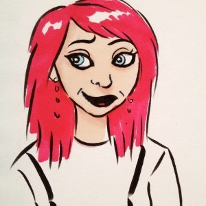 pink haired girl caricature